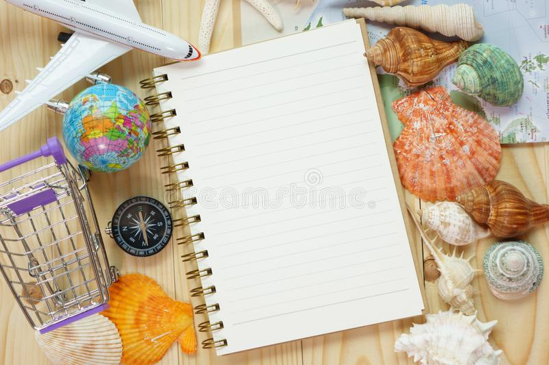 Travel trip vacationnote pad compass stock image