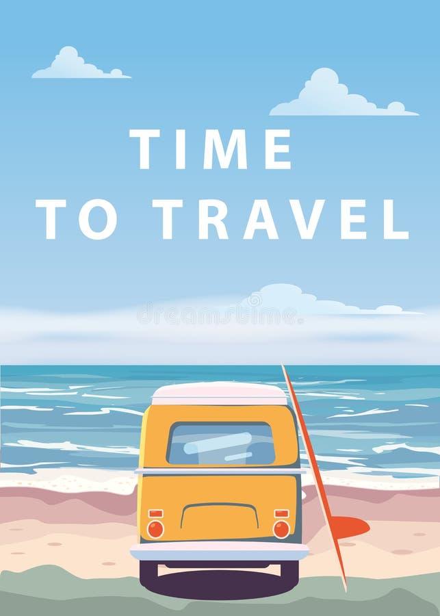 Travel, trip vector illustration. Ocean, sea, seascape. Surfing van, bus on beach. Summer holidays. Ocean background on. Travel, trip vector illustration. Ocean stock illustration