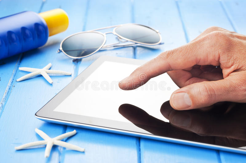 Travel Tropical Tablet Vacation stock photography