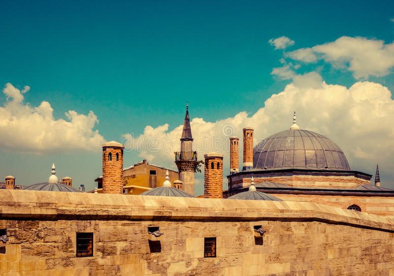 Travel in Turkey. Panorama of Istanbul, islamic architecture in old town. Travel in Turkey, old town with roofs and minarets of Mosque. Landmarks for popular royalty free stock images