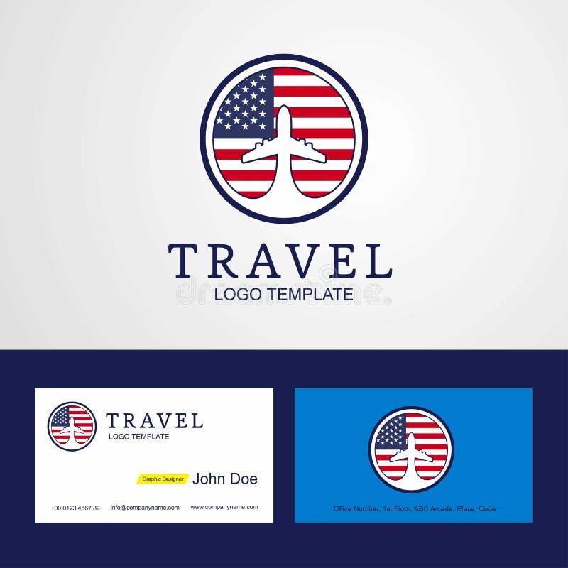 Travel United States of America Creative Circle flag Logo and Bu vector illustration
