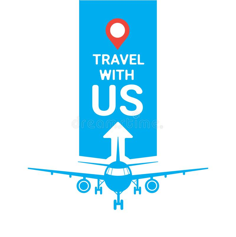 Travel With Us Template Travel Agency Poster Or Logo Planes Silhouette Over Blue Background Tourism Concept stock illustration