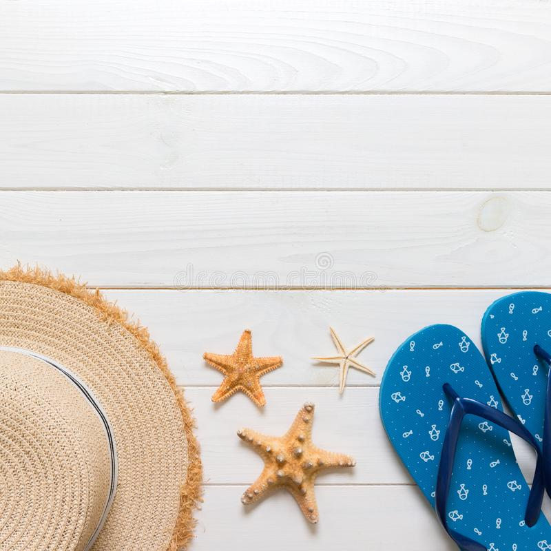 Travel and vacation accessories on a white wooden background. top view summer holiday concept with copy space stock photos