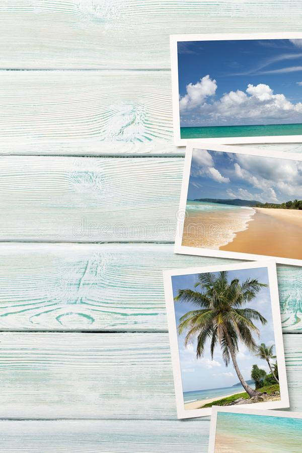 Travel vacation background concept with weekend photos on wooden backdrop. Top view with copy space. Flat lay. All photos taken by. Me royalty free stock images