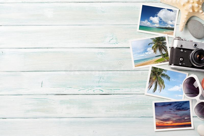 Travel vacation background concept with weekend photos on wooden backdrop. Top view with copy space. Flat lay. All photos taken by. Me stock images