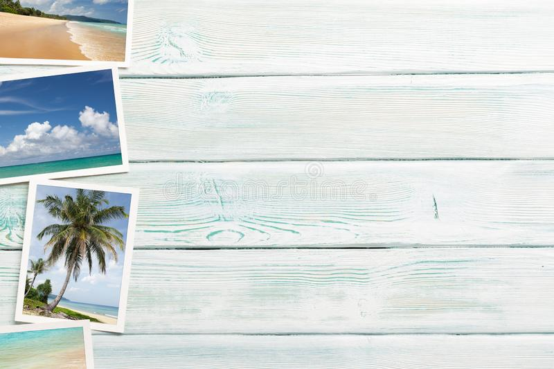 Travel vacation background concept with weekend photos on wooden backdrop. Top view with copy space. Flat lay. All photos taken by. Me stock image