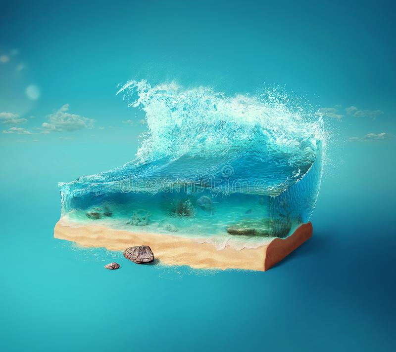 Travel and vacation background. 3d illustration with cut of the ground and the beautiful sea underwater. Baby sea isolated on blue vector illustration