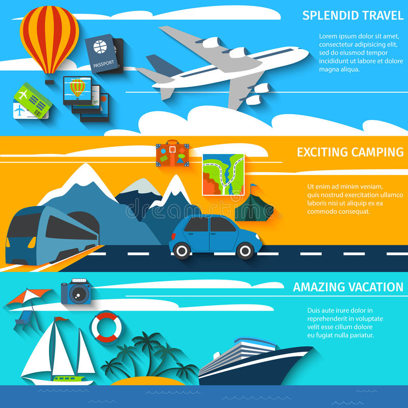 Travel vacation camping banners set stock illustration