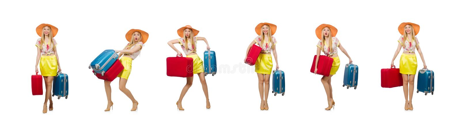 Travel vacation concept with luggage on white royalty free stock photography