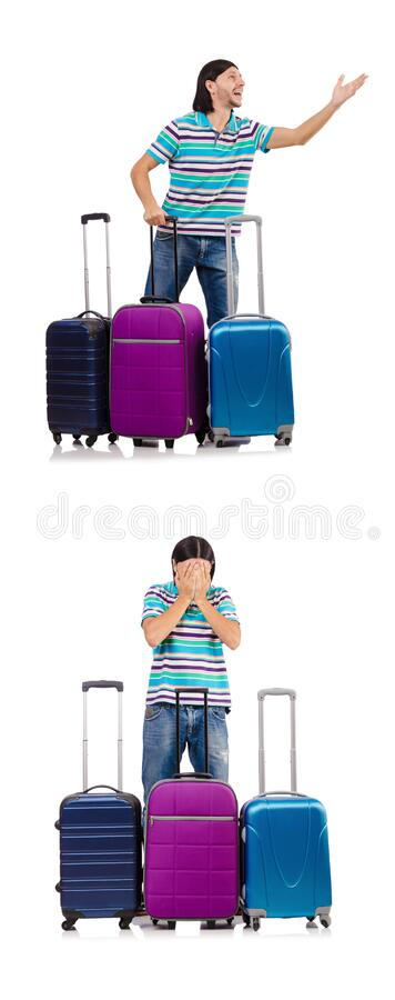 Travel vacation concept with luggage on white stock photos