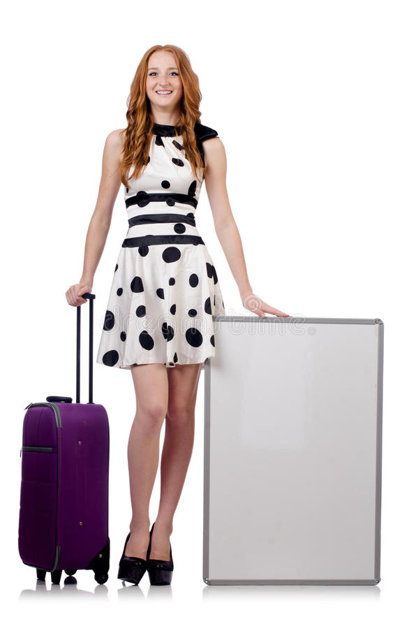 Travel vacation concept. With luggage on white royalty free stock photos