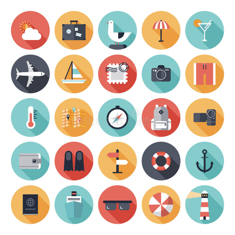 Travel and vacation flat icons set vector illustration