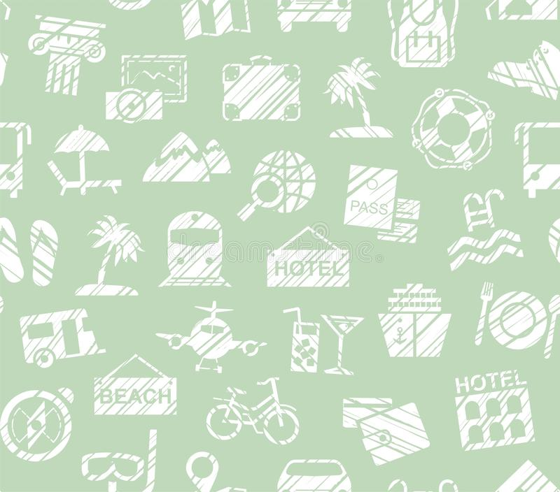 Travel, vacation, Hiking, leisure, seamless pattern, pencil shading, green, vector. Different types of holidays and ways of travelling. White drawings on a vector illustration
