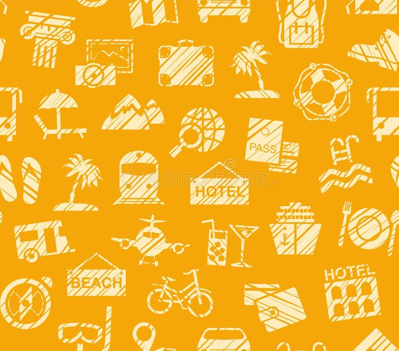 Travel, vacation, Hiking, leisure, seamless pattern, pencil shading, orange, color, vector. Different types of holidays and ways of travelling. The yellow vector illustration