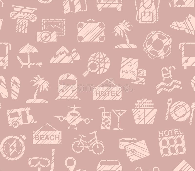 Travel, vacation, Hiking, leisure, seamless pattern, pencil shading, pink, color, vector. Different types of holidays and ways of travelling. Pink drawings on stock illustration