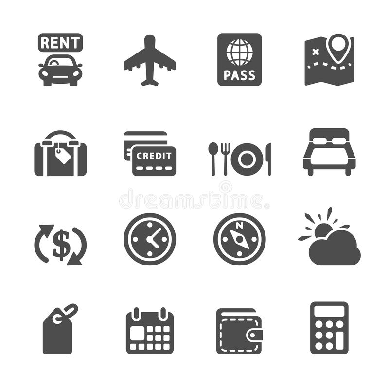 Travel and vacation icon set 6, vector eps10 stock illustration