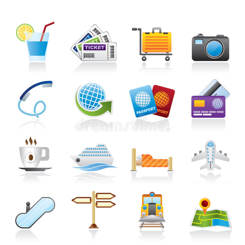 Travel And Vacation Icons Royalty Free Stock Image