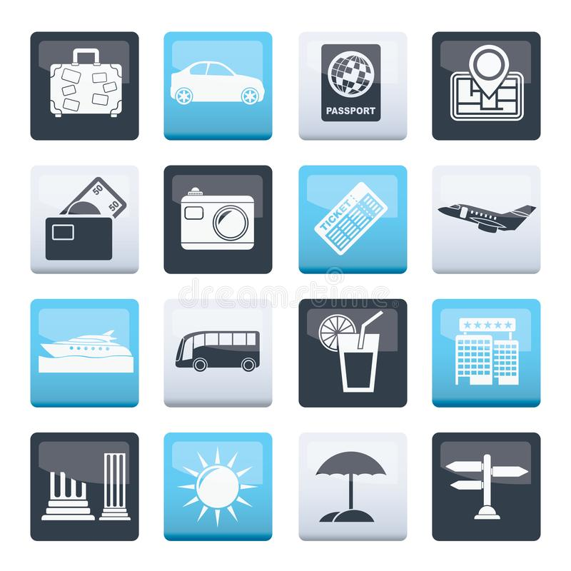 Travel and vacation icons over color background. Vector icon set stock illustration