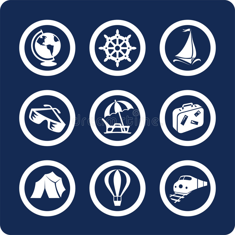 Travel and Vacation icons (set 13, part 1) stock illustration