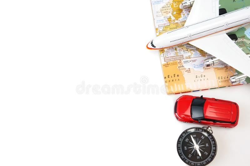 Travel and vacation items on white table royalty free stock photography