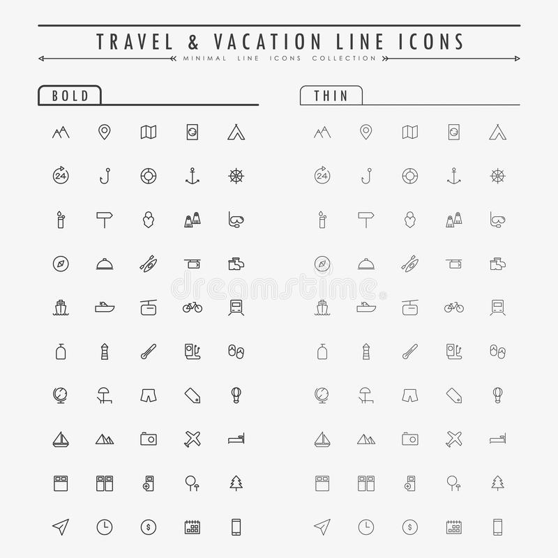 Travel and vacation line icons on bold and thin line concept royalty free illustration