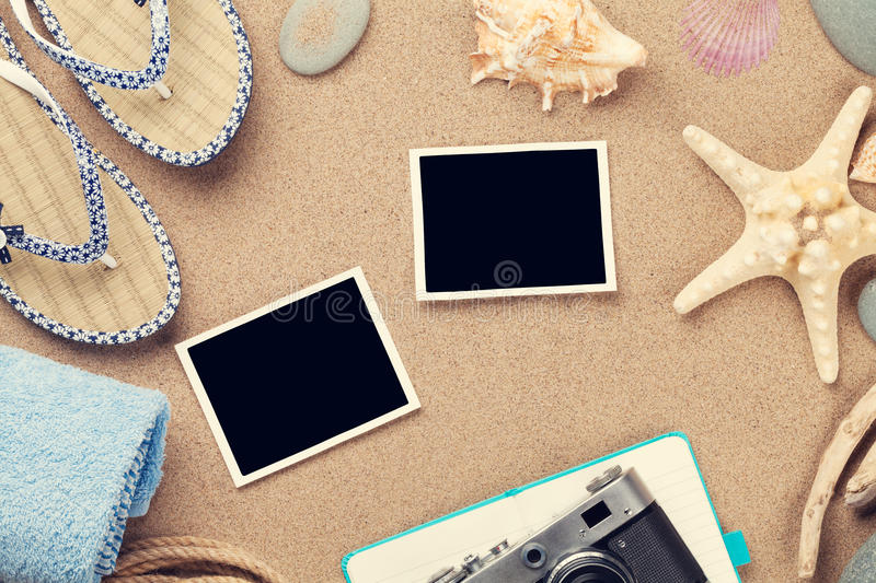 Travel and vacation photo frames and items royalty free stock photo