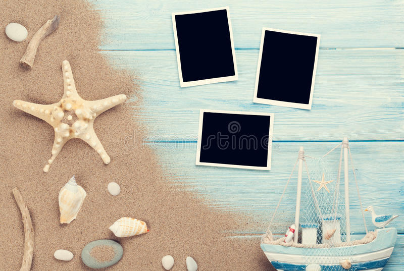 Travel and vacation photo frames and items stock image