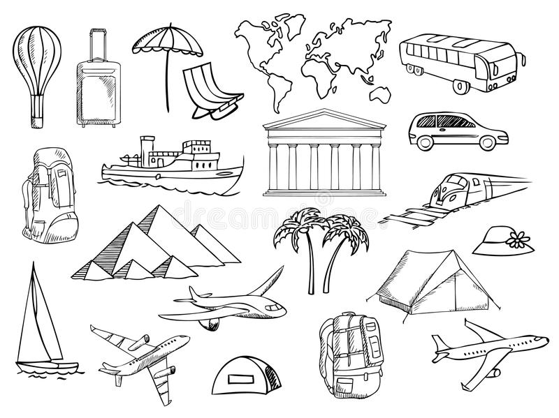 Download Travel And Vacation Symbols Vector Stock Image - Image: 24134481