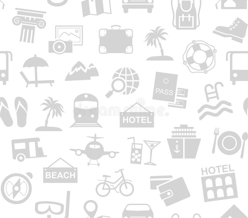 Travel, vacation, tourism, recreation, seamless pattern, monochrome, white, vector. Different types of recreation and ways to travel. Gray pictures on a white stock illustration