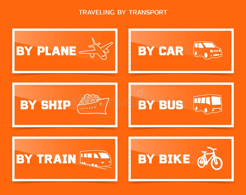 Travel by various transport icons set stock illustration