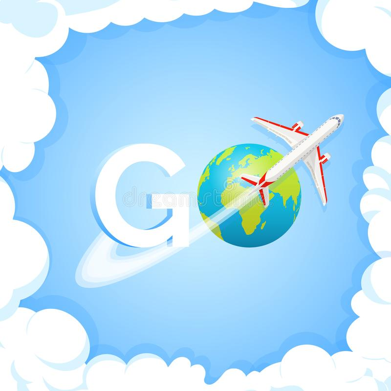 Travel concept. Word GO at blue background with aircraft and globe. Plane flying around Earth planet with continents and stock illustration