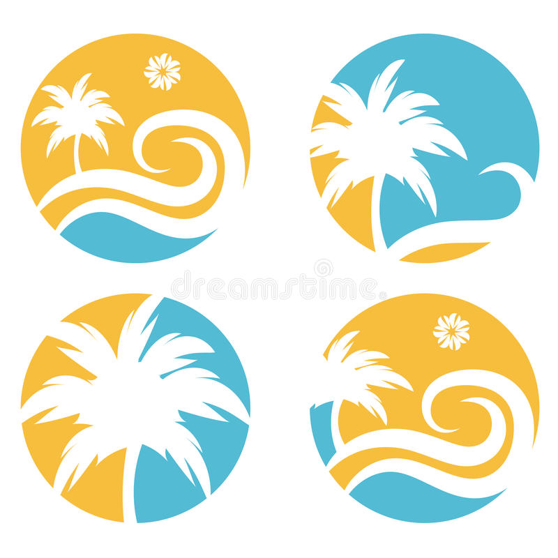 travel vector design template with palm tree vector illustration