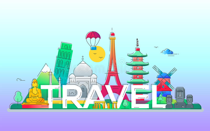 Travel - vector line travel illustration. Travel - modern vector line design illustration. India, Japan, France, Italy, Netherlands. Be on a safe and exciting stock illustration