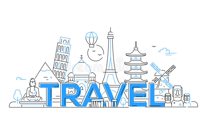 Travel - vector line travel illustration. Travel - modern vector line design illustration. India, Japan, France, Italy, Netherlands. Be on a safe and exciting royalty free illustration