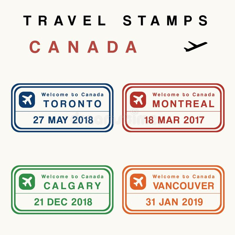 Canada travel stamps. Travel vector - passport stamps set fictitious stamps. Canada destinations: Toronto, Montreal, Calgary and Vancouver vector illustration