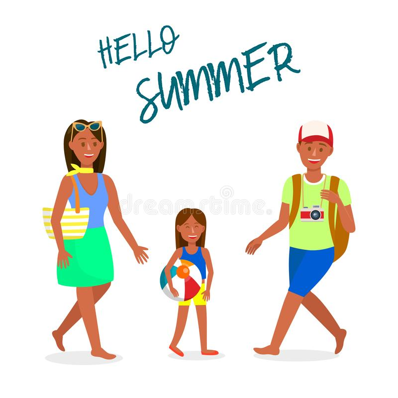 Travel Vector Postcard with Hello Summer Lettering vector illustration