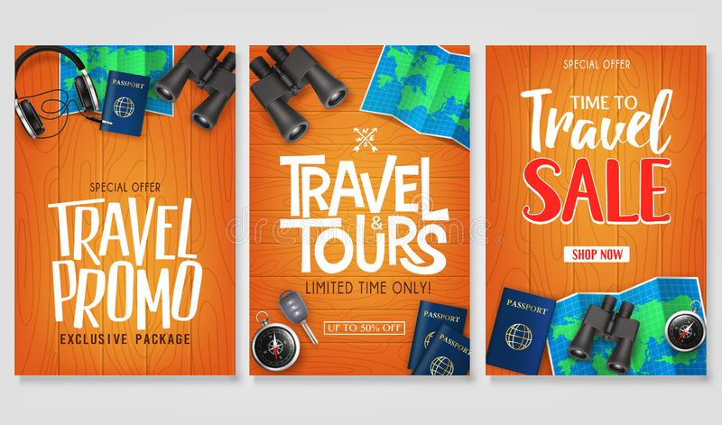 Travel Vector Set Template with Creative Stylish Text Logo and Realistic 3D Traveling Item Elements stock illustration