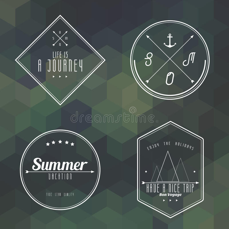 Travel Vintage Label On Camouflage Geometry Background Stock Vector
