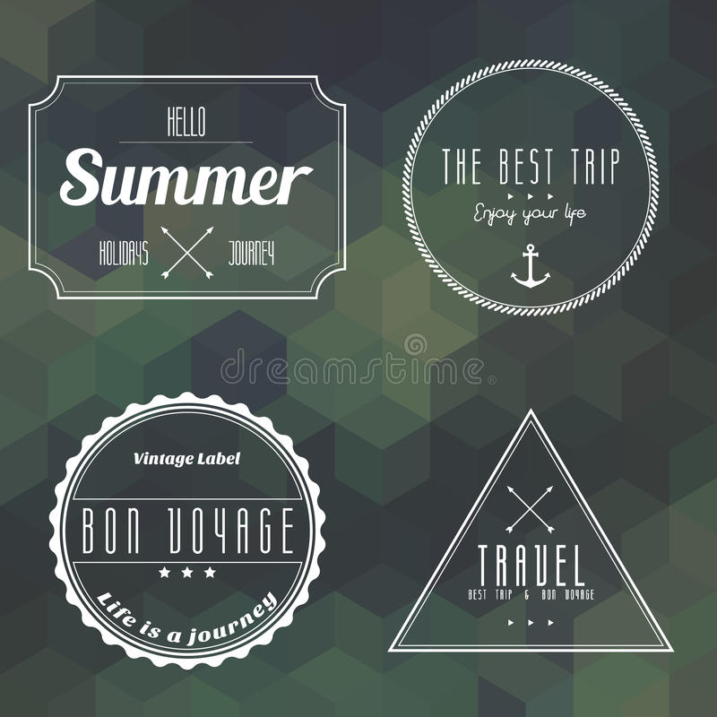 Download Travel Vintage Label On Geometry Background Stock Vector - Image: 42448627