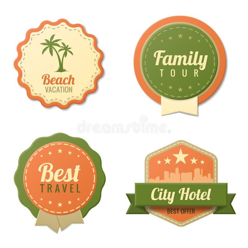Travel vintage labels template collection tourism stock for Vintage hotel decor