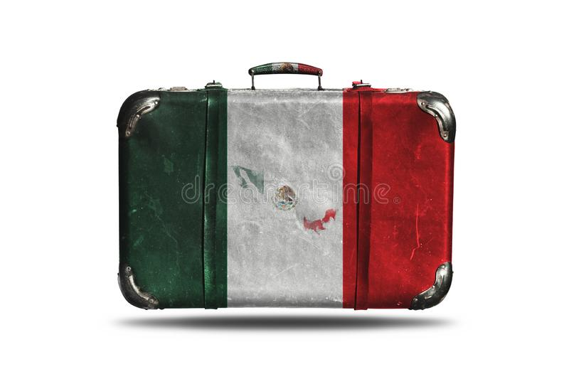 Travel Vintage Leather Suitcase with Flag Of Mexico and Country Map Isolated On White Background vector illustration