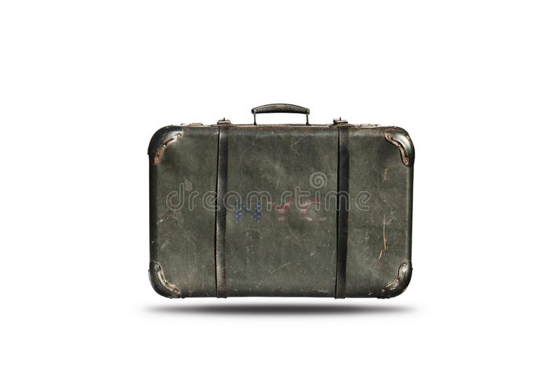 Travel Vintage Leather Suitcase With New York City Sign On It . Happy 4th of July Independence Day United States Of America royalty free stock images