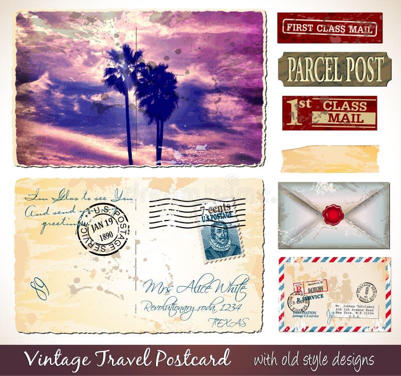 Travel Vintage Postcard Design with antique look stock illustration