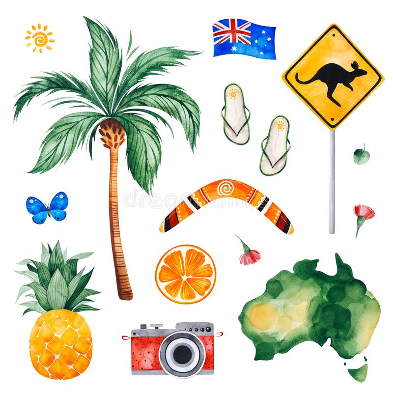 Travel watercolor seamless pattern with palm tree, pineapple,serf board,fruits,camera. royalty free illustration
