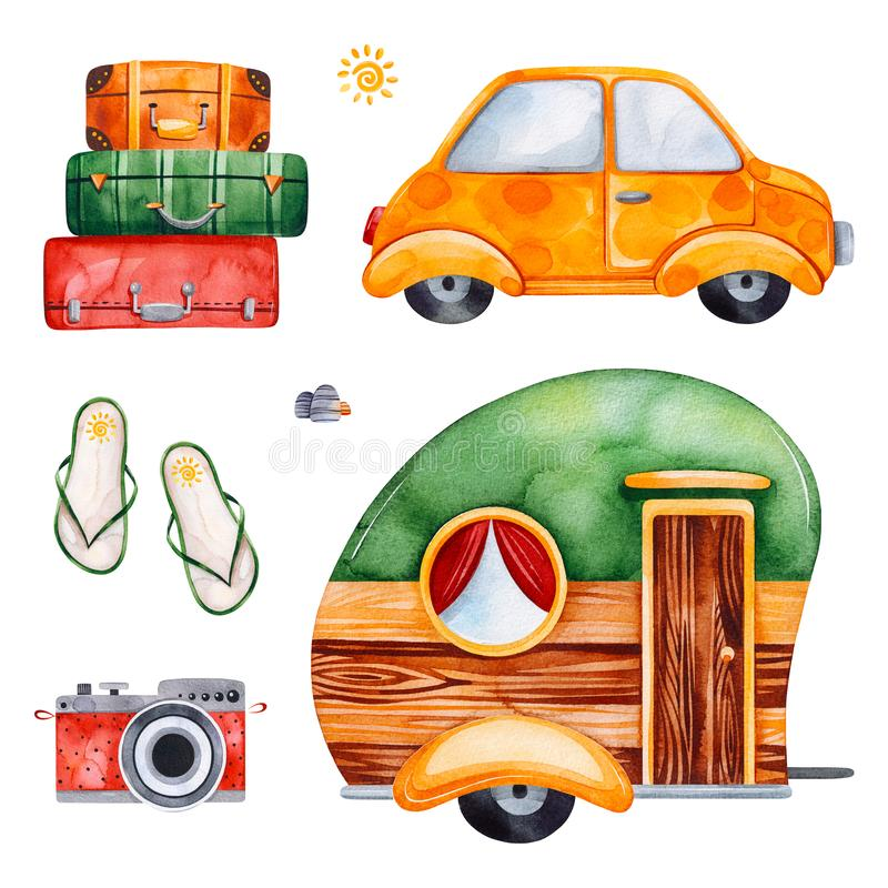 Travel watercolor set with yellow car, camera, flip flop stock illustration