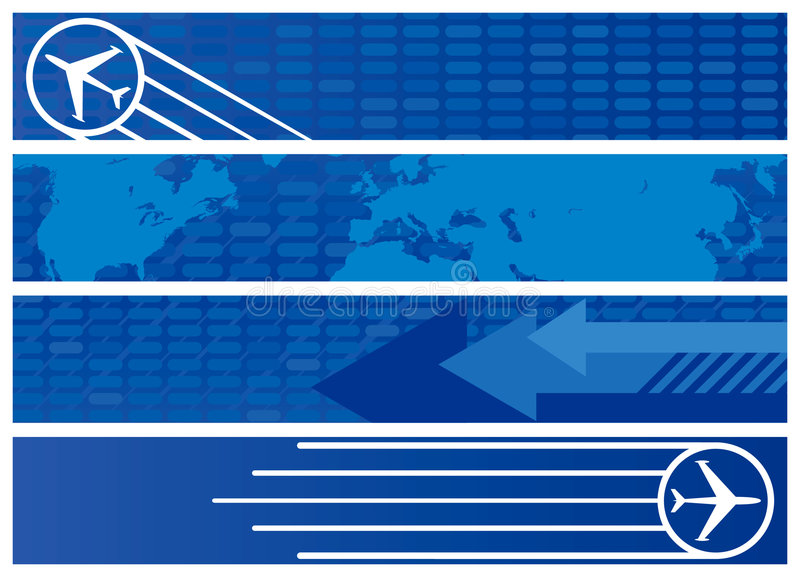 Travel Web Banners in Shades of Blue. Four Travel Web Banners in Shades of Blue vector illustration