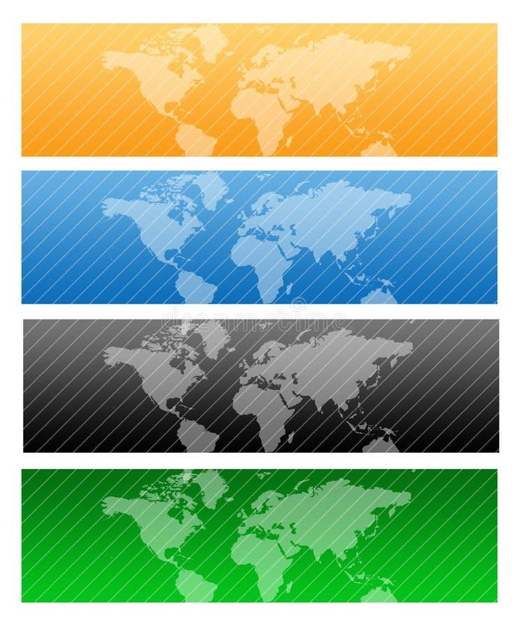 Travel Web header / world map. Website header / banner. Technology, travel, world map, digitally generated illustration for web site headers stock illustration