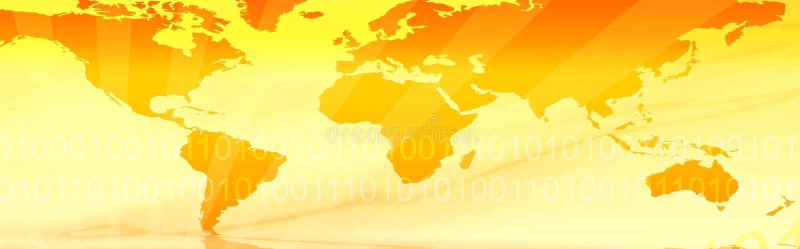 Travel Web header / world map. Website header / banner. Technology, travel, world map, digitally generated illustration for web site headers royalty free illustration