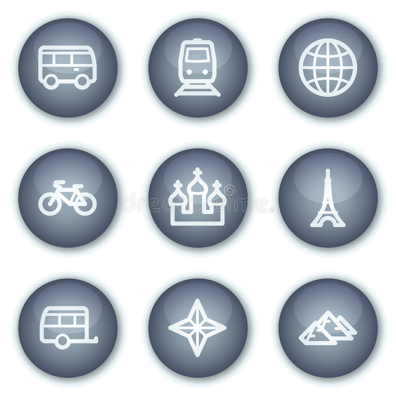 Travel web icons set 2, mineral circle buttons vector illustration
