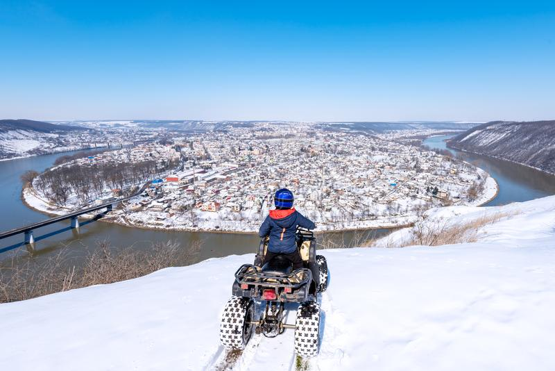 Travel in the winter on the ATV. Beautiful winter nature stock photography